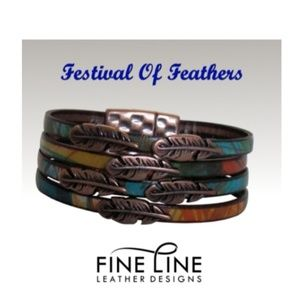 Feather leather bracelet size small